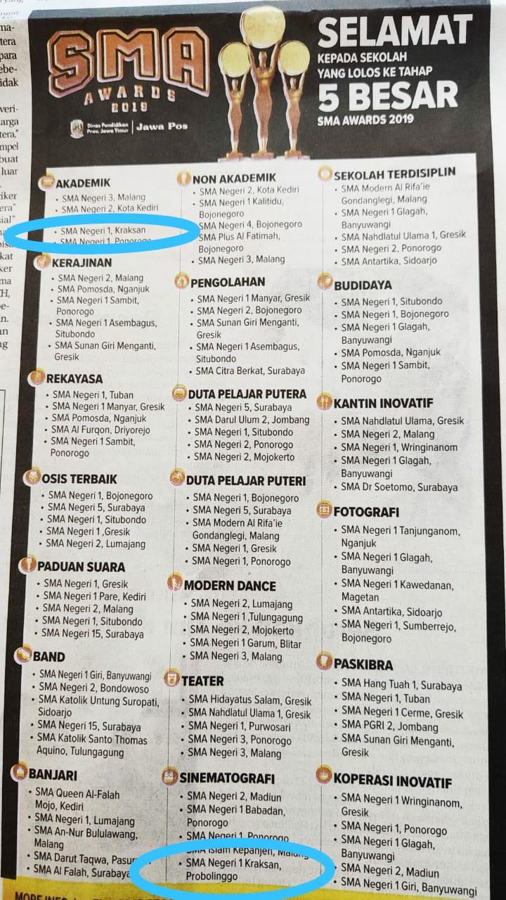 SMAN 1 Kraksaan masuk dalam 5 besar SMA Awards
